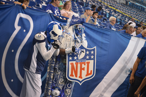Colts Superfan with a Fan