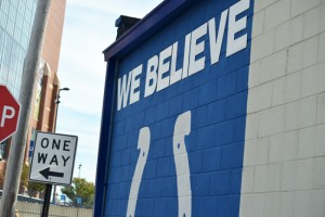 We Believe Colts Sign on a Building in Downtown Indianapolis